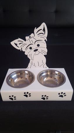 Stojak ,miski dla psa, YORK z kokardą (1)